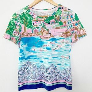 Talbots Watercolor Tee - Pastels Petite Small